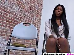 Beautiful ebony Nadia Jay sucks and rides white dick inside gloryhole