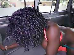 Big boobs ebony banged by massive white cock in the bus