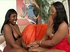 Black lesbian shares a huge Dildo with her gf