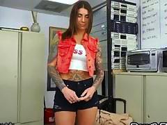 Shy brunette milf full body tattooed exposed