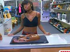 Black girl sells her stuff and gets fucked by pawn dude