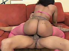 Ebony Slut Drilled On The Couch