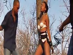 Babe from Africa gets whipped and banged by masters