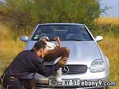 Black Girl Fucks Outdoors On A Car